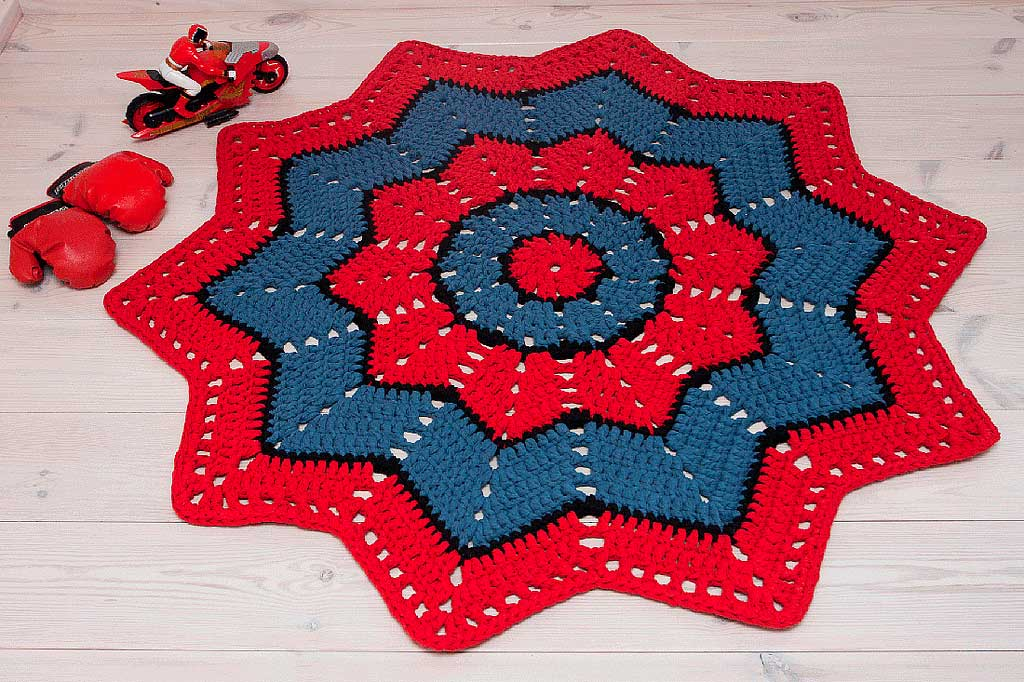 Spiderman crochet doily rug