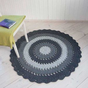 Grey striped crochet doily rug