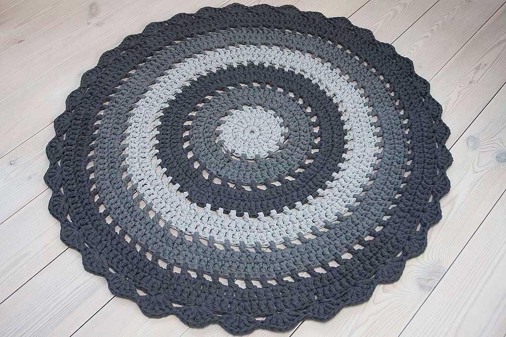 Grey Striped Crochet Doily Rug Homesoul