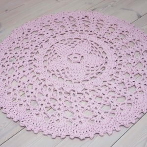 Light pink crochet doily rug