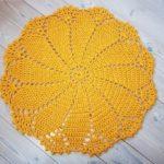 Yellow crochet doily rug