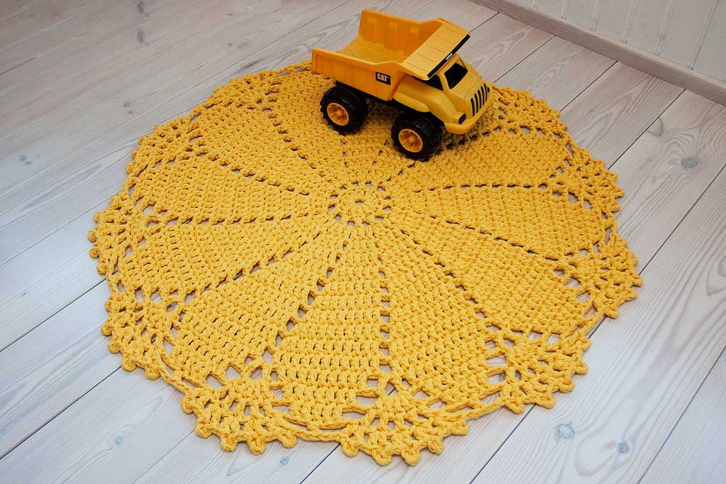 Yellow crochet doily rug