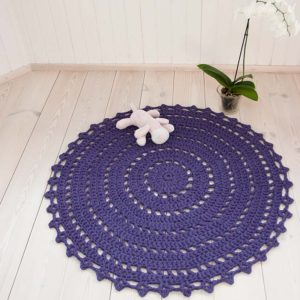 Purple round crochet doily rug