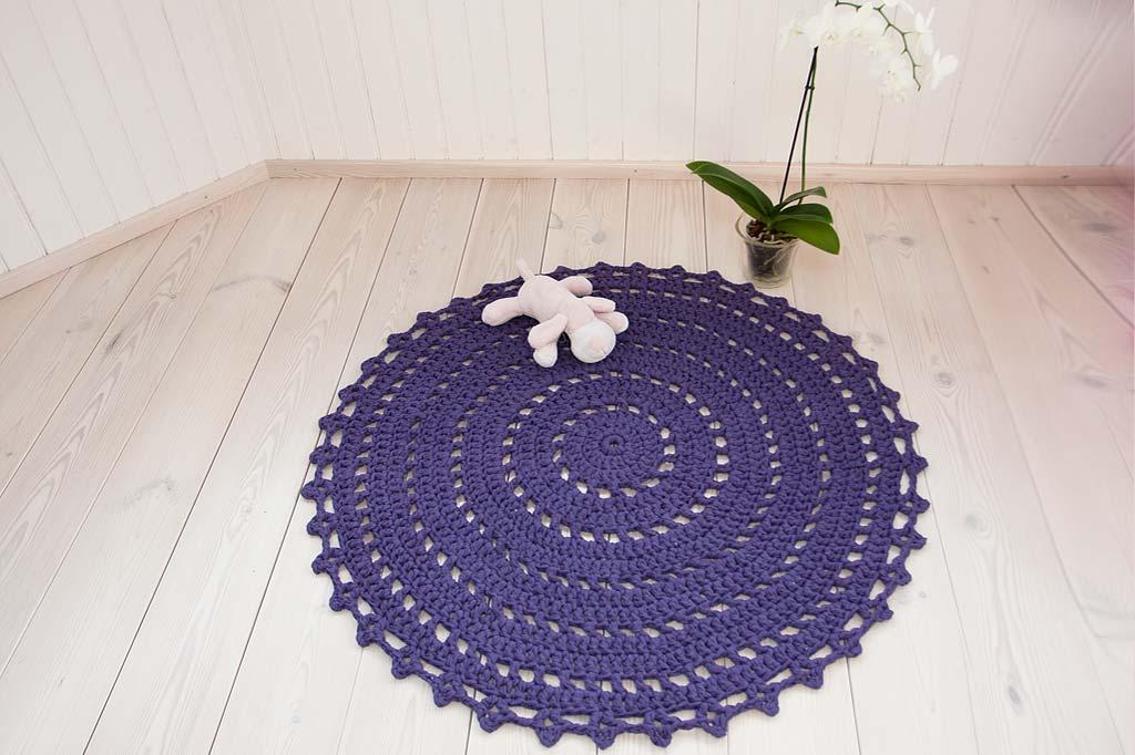 Purple round crochet doily rug