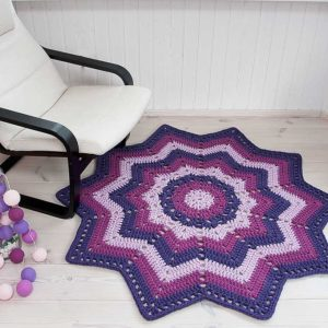 Purple striped crochet doily rug