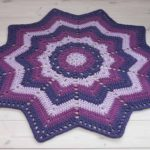 Purple striped crochet doily rug