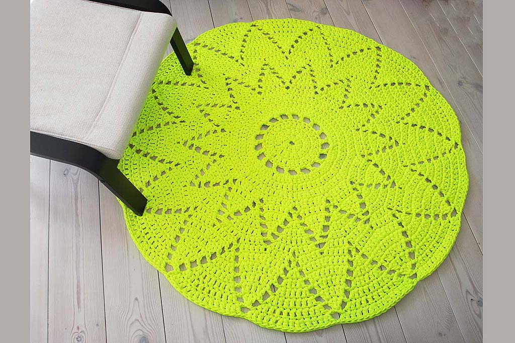 neon yellow crochet doily rug