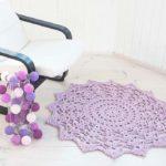Lilac crochet cotton doily rug