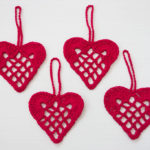crochet red heart decorations