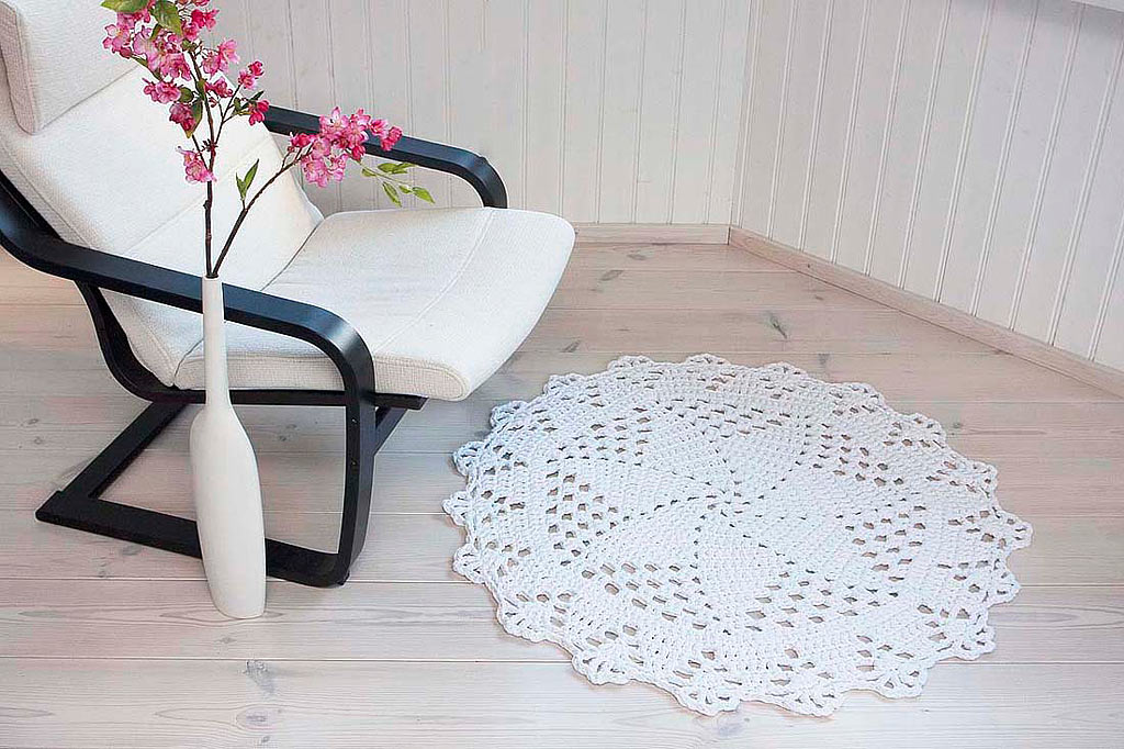 White crochet lace doily rug